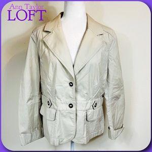 Ann Taylor LOFT Light Tan Khaki Military Jacket 12
